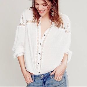 FREE PEOPLE Swiss Dot Button Up Blouse with Lace